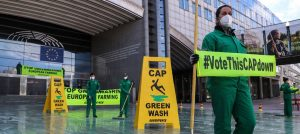 Greenpeace activists demonstrate on Wednesday in front of the European Parliament, where an EU Council meeting on EU agricultural reform is taking place