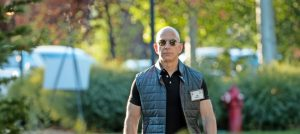 Darkened glasses, aisle and a direct view of the future: Jeff Bezos in 2017