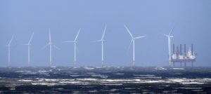 Wind turbines off New Brighton: Great Britain wants to promote clean energy supply.